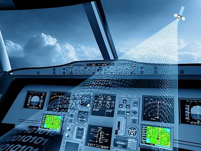 Aircraft Artwork Photograph - Satellite Air Traffic Control System by European Space Agency