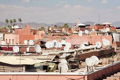 Satellite Tv Dishes On House Print by Ashley Cooper