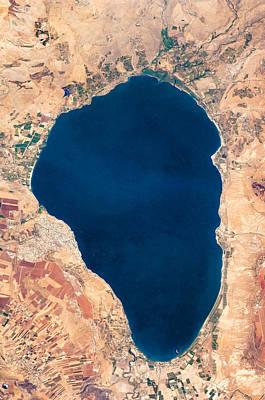 Satellite View Of Lake Tiberias - Sea Of Galilee Israel Print by World Art Prints And Designs