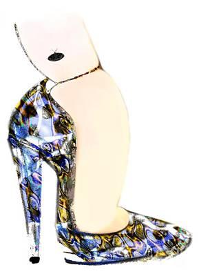Satin Slipper - Blue Shoe Original by Carolyn Weltman