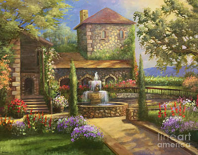 Sattui Painting - Sattui Winery Garden by Gail Salituri
