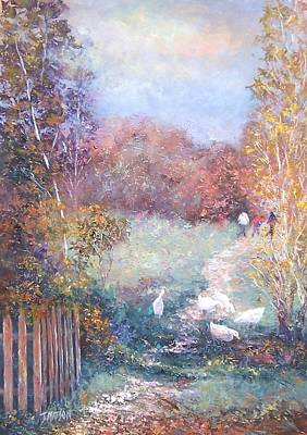 Autumn Scene Painting - Saturday Afternoon Adventure by Jan Matson