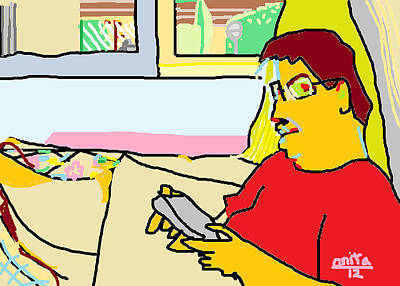 Ipad Drawing - Saturday Morning At A7 by Anita Dale Livaditis