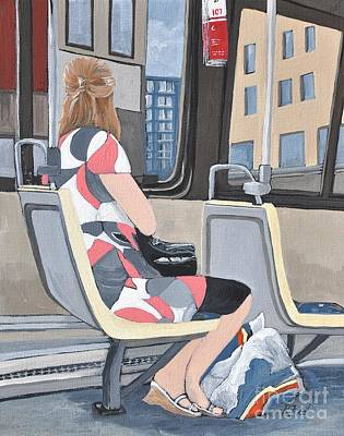 Montreal City Scenes Painting - Saturday Morning On The 107 by Reb Frost
