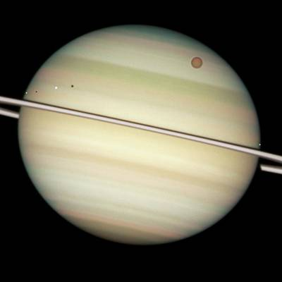 2009 Photograph - Saturn And Moon Transits by Nasa/esa/hubble Heritage Team (stsci/aura)