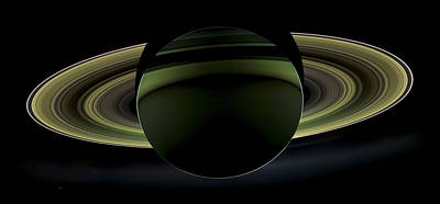 Spacecraft Photograph - Saturns Glowing Rings by Adam Romanowicz