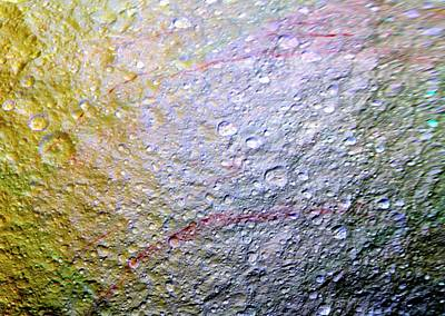 Reflective Surfaces Photograph - Saturn's Moon Tethys by Nasa/jpl-caltech/space Science Institute