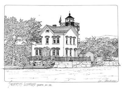 Saugerties Drawing - Saugerties Lighthouse by Ira Shander