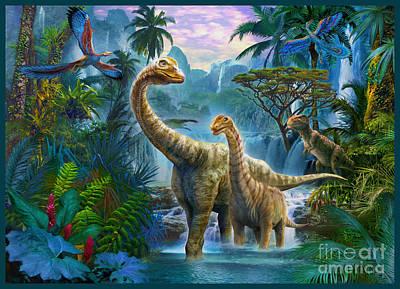 T-rex Digital Art - Sauropods II by Jan Patrik Krasny