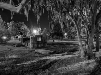 Night Lamp Photograph - Savannah - Bonaventure Cemetery 003 by Lance Vaughn