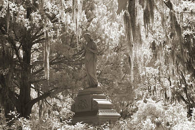 Savannah Bonaventure Cemetery Sepia Angel Monument With Hanging Spanish Moss Print by Kathy Fornal