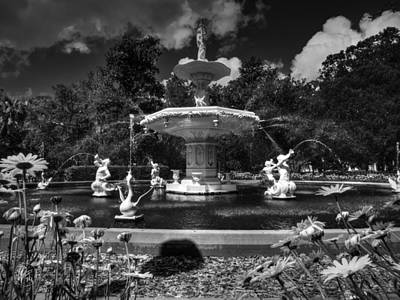 Savannah - Forsyth Park Fountain 001 Bw Print by Lance Vaughn