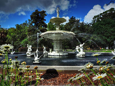 Savannah - Forsyth Park Fountain 001 Print by Lance Vaughn