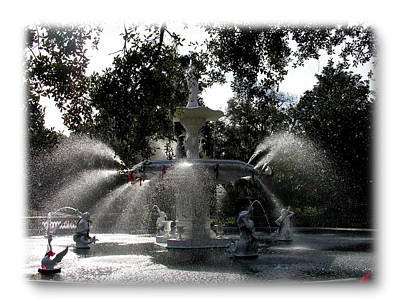 Savannah Forsythe Fountain Show Print by Jacqueline M Lewis