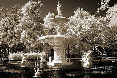 Savannah Georgia Fountain - Forsyth Fountain - Infrared Sepia Landscape Print by Kathy Fornal