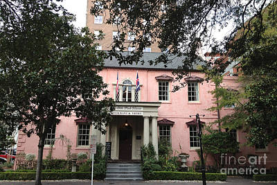Savannah Georgia The Olde Pink House Restaurant - Historical Southern Pink Building Architecture Print by Kathy Fornal