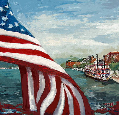 Us Flag Mixed Media - Savannah River Queen by Ginette Callaway