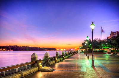 Riverwalk Photograph - Savannah Riverwalk At Sunrise by Anthony Doudt