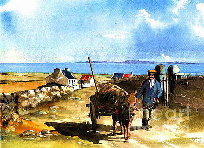 Connaught Painting - Saving The Seaweed Doonbeg   Clare by Val Byrne