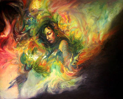 Floating Girl Painting - Savoring The Silence by Andrea Tseng