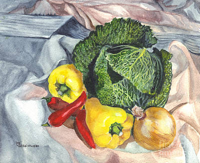 Cabbage Drawing - Have You Had Your Vegetables by Carol Wisniewski
