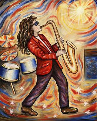 Sax Man Print by Linda Mears