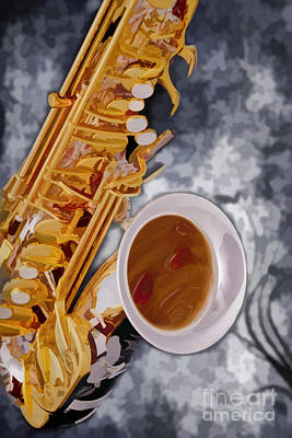 Saxophone Photograph - Saxophone Music Instrument Painting In Color 3265.02 by M K  Miller
