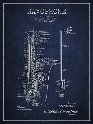 Sax Drawing - Saxophone Patent Drawing From 1928 by Aged Pixel