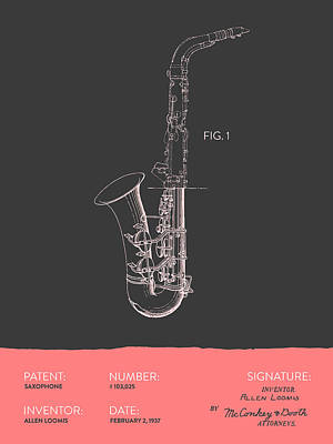 Saxes Digital Art - Saxophone Patent From 1937 - Gray Salmon by Aged Pixel