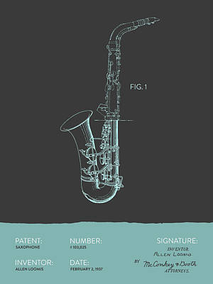 Saxes Digital Art - Saxophone Patent From 1937 - Modern Gray Blue by Aged Pixel