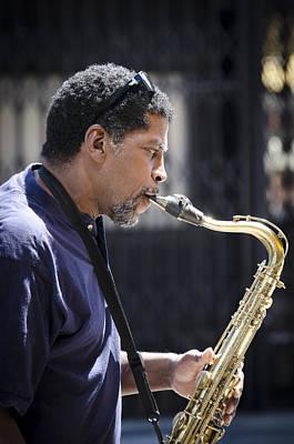 Saxophone Player Print by Carolyn Marshall