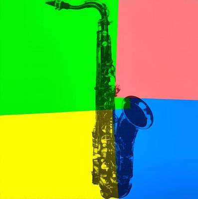 Saxophone Mixed Media - Saxophone Pop Art by Dan Sproul