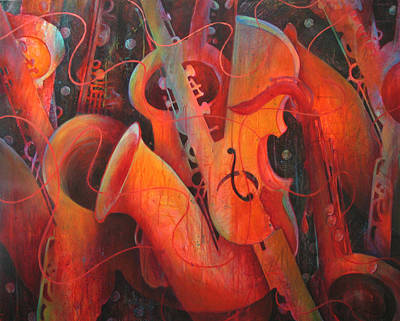 Saxy Cellos Print by Susanne Clark