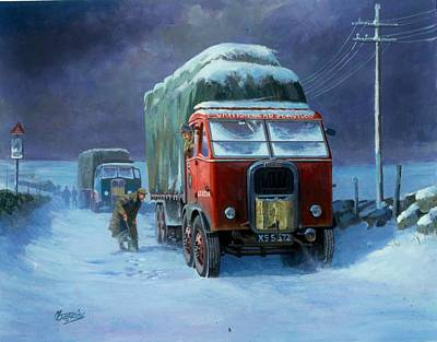 Snowbound Painting - Scammell R8 by Mike  Jeffries