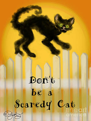 Moon Digital Art - Scaredy-cat by Carol Jacobs