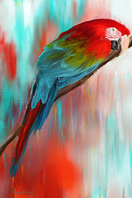 Parrot Art Painting - Scarlet- Red And Turquoise Art by Lourry Legarde