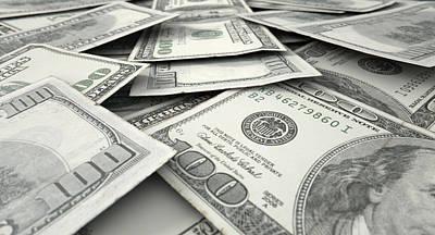 Macro Digital Art - Scattered Banknote Pile by Allan Swart