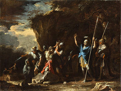 King Of The Persians Painting - Scene From Greek History. The Deaf-mute Son Of King Croesus Prevents The Persians From Killing His F by Salvator Rosa