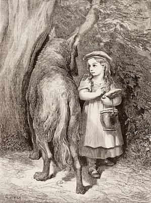 Red Riding Hood Drawing - Scene From Little Red Riding Hood by Gustave Dore