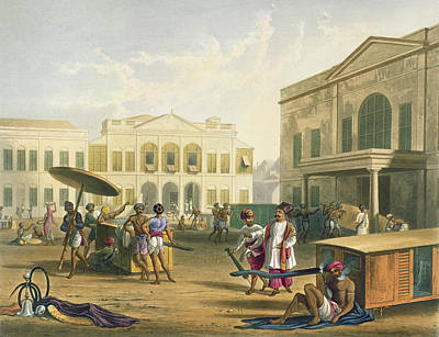 Street Drawing - Scene In Bombay, From Volume I by Captain Robert M. Grindlay