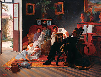 Rocking Chairs Painting - Scene Of Adolpfo Pinto's Family by Mountain Dreams