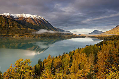 Scenic View During Autumn Of Kenai Lake Print by Kent Fredriksson