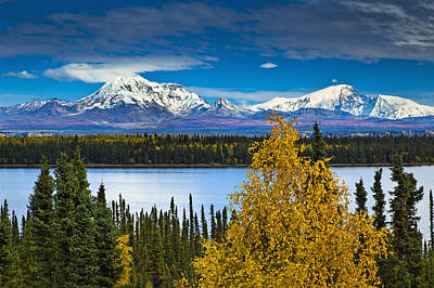 Willow Lake Photograph - Scenic View Of Mt. Sanford L And Mt by Sunny Awazuhara- Reed