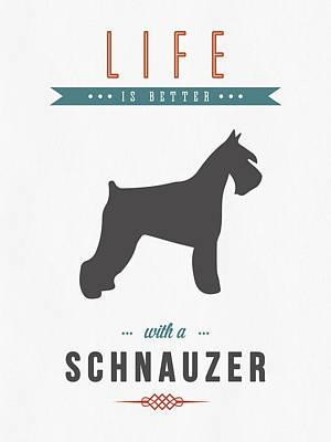 Cute Dog Mixed Media - Schnauzer 01 by Aged Pixel