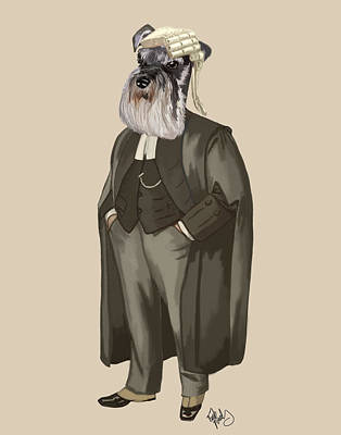 Schnauzer Art Digital Art - Schnauzer Lawyer by Kelly McLaughlan