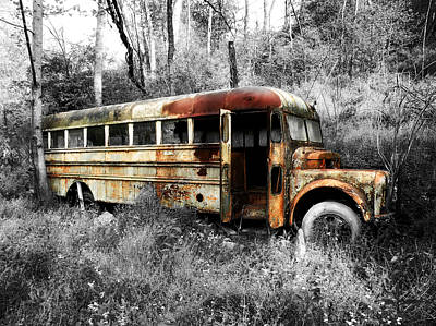 Old School Bus Photograph - School Bus by Steven  Michael