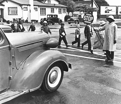 School Crossing Guard Print by Underwood Archives