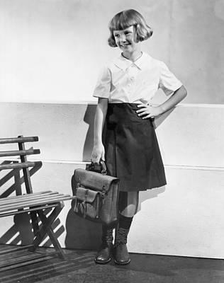 Blonde Hair Photograph - School Fashion Girl by Frederick Bradley