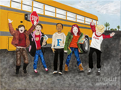 School Bus Painting - School Is Out By Barbara Heinrichs by Sheldon Kralstein
