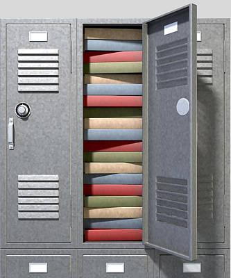 School Locker Crammed Books Print by Allan Swart